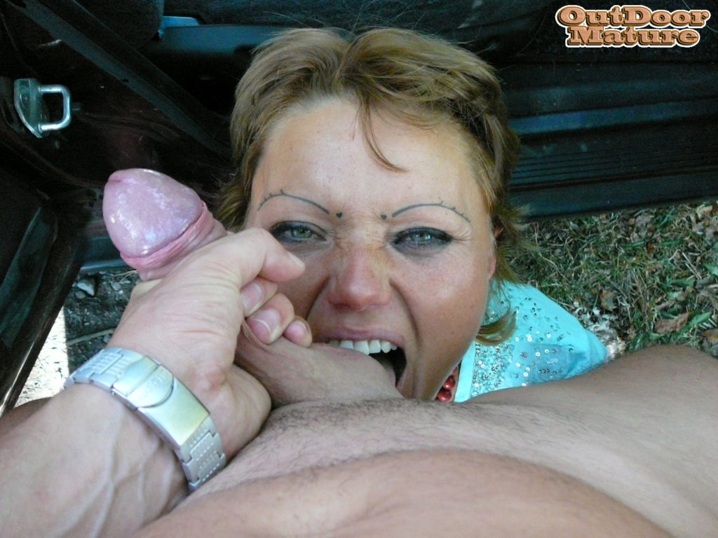 Young men share a horny housewife in the forest