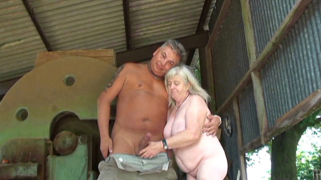 Old English farming couple  fuck in the yard while Kim films