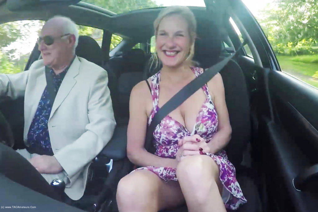 Kinky British Milf Molly Maracas fingers herself while out for a drive